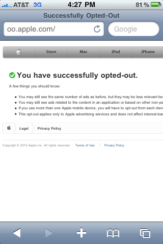 Opt Out Screen for iAds